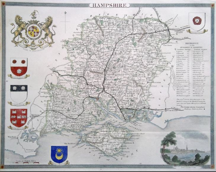 Old map of Hampshire